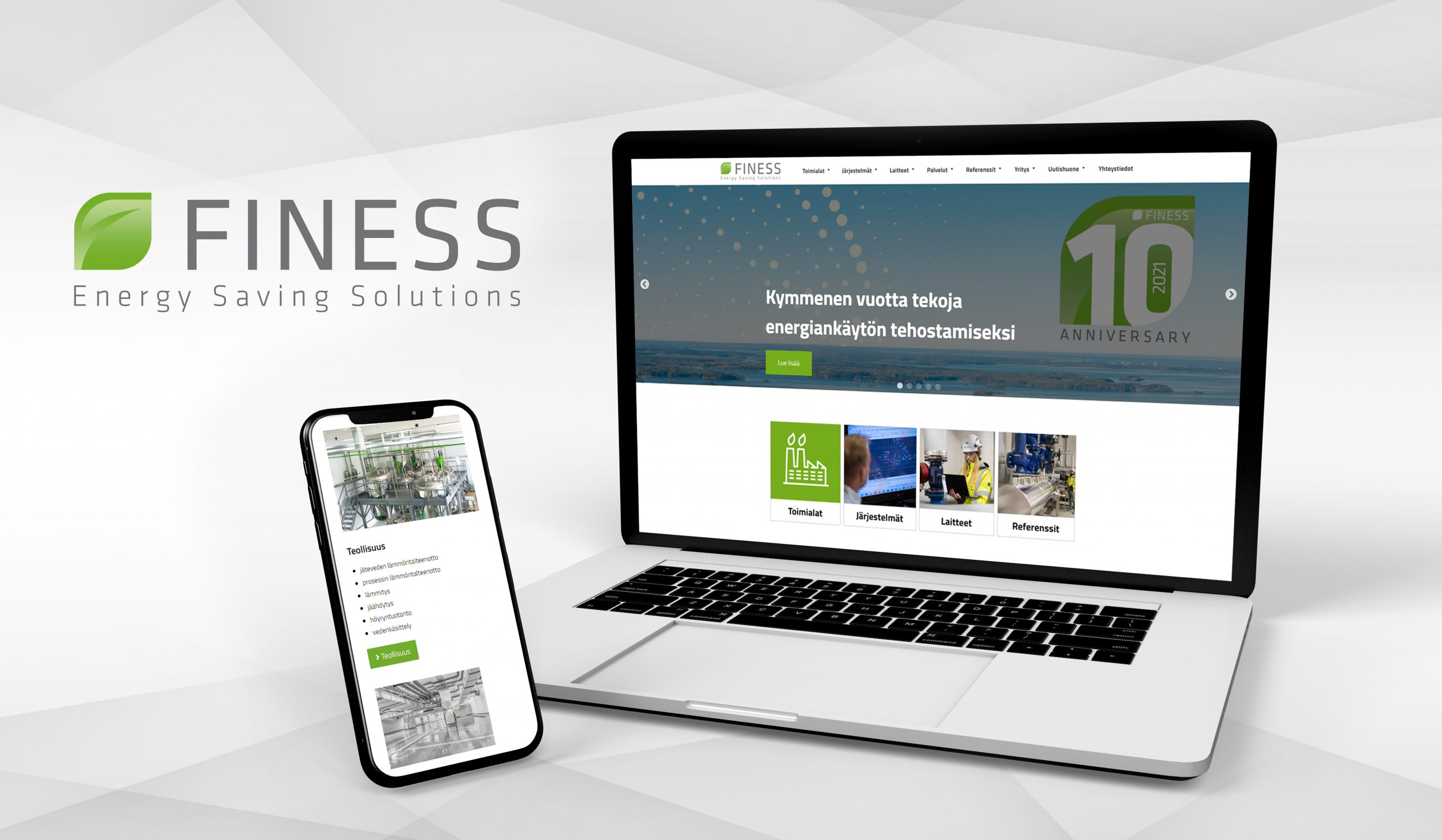 Kasvua tukeva verkkosivusto sisältöineen teollisuuden energiatehokkuusratkaisujen toimittajalle